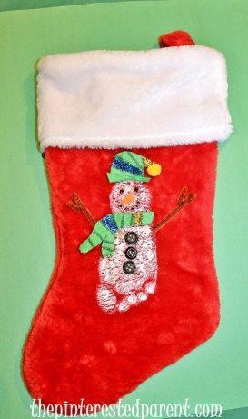 Snowman Footprint Christmas Stocking for kids