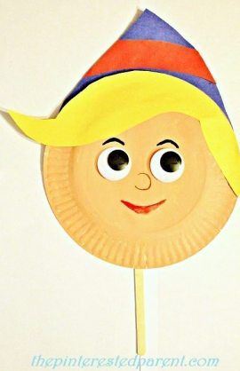 Paper plate 'Hermey the Elf' Inspired character craft & mask