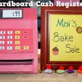 Cardboard Cash Register for pretend play