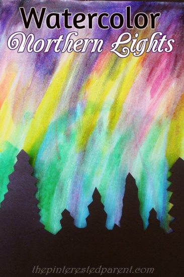 Pretty Northern Lights paintings with watercolors & tree silhouette - art & painting for kids