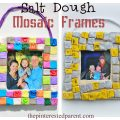 Diy salt play dough mosaic frames - a great gift idea for the kids to make- clay crafts for Mother's Day