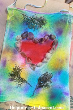 Nature Tie Dye Shirts - These t-shirt designs were made from rocks, leaves, twigs & other things found in nature.. This is a fun spring or summer art activity & craft for kids or adults