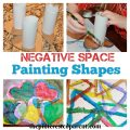 Simple to make shapes for negative space painting. Fun & easy art projects for kids