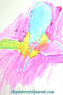 Georgia O'Keefe inspired watercolor flower paintings for kids - exploring art history & famous artists.