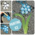 Painting ice is perfect fot a hot summer's day - painted ice flower kid's arts & crafts