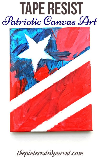 Patriotic canvas art - tape resist painting of the stars and stripes for kids
