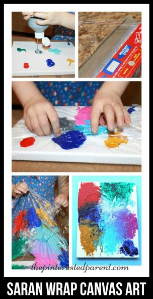 Canvas painting with Saran Wrap adds a little texture with lines & peaks to you abstract painting & it is fun for the kids. Kids arts & crafts.