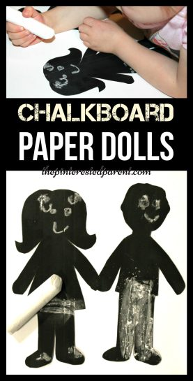 Chalkboard paper dolls - fun for kids to draw on the faces & clothes and erase again. Arts & crafts ideas & activities