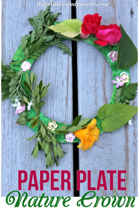 Paper Plate Nature crown craft made with flowers & leaves. Kids arts & crafts,