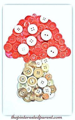 Button mushroom toadstool craft. A cute idea for a woodland themed or fairy tale kid's room..