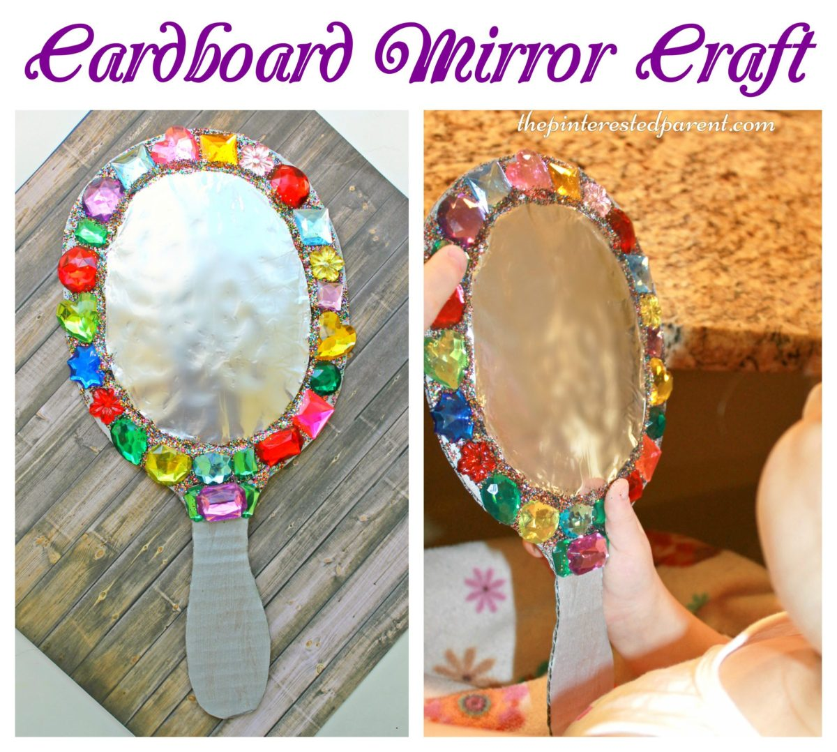 Jeweled Cardboard Mirror