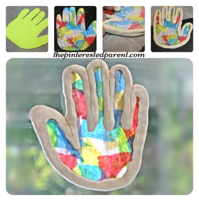 Clay Suncatcher ornaments- summer arts and crafts projects for kids made with clay & tissue paper..