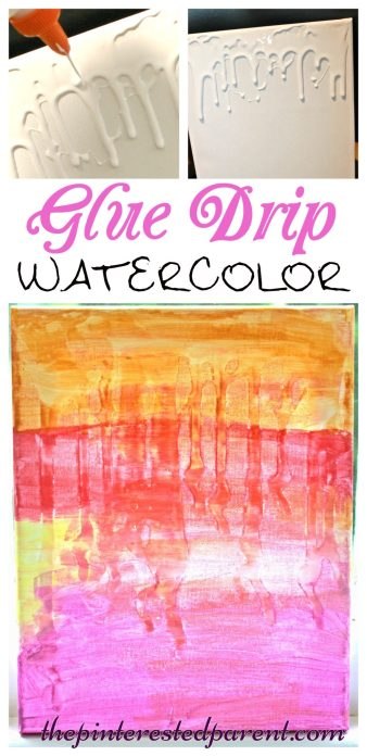 Glue Drip Watercolor canvas art - painting projects for kids -messy arts and crafts