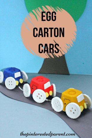 Simple Egg Carton Car craft for kids. Easy arts & crafts with recyclables..