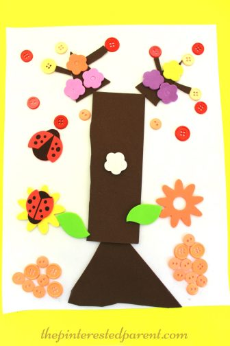 Fall Button Falling Leaf Tree Craft - autumn arts & crafts for kids..