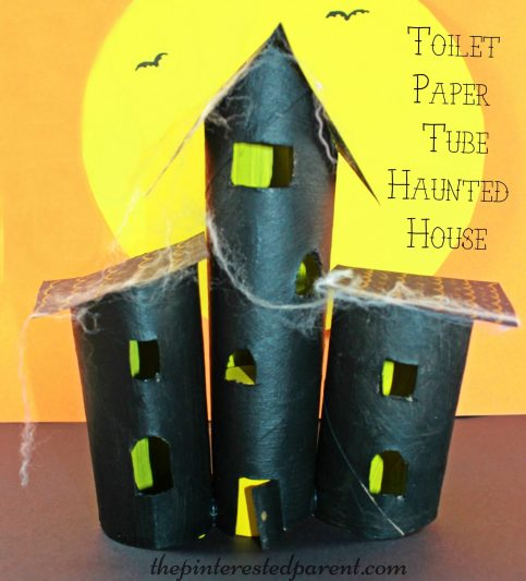 Paper towel roll and toilet paper tube haunted house craft. Cardboard tubes made this spooky Halloween project for kids.