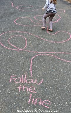 Sidewalk Chalk Games & Activities for kids. Fun outdoor play spring, summer, fall.,