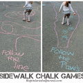 Sidewalk Chalk Games & Activities for kids. Fun outdoor play spring, summer or fall.