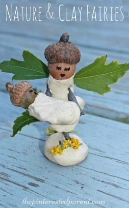 Nature and clay fairy crafts. This adorable craft was made with acorns, sticks and leaves. Salt Dough would work too. Kid's arts and crafts. - preschoolers