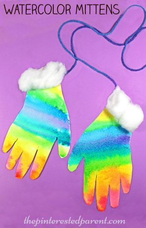 watercolor hand print mittens - process art for kids - winter arts and crafts - preschooler