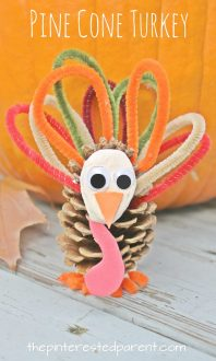 Pinecone and pipe cleaner animals. Check out our other pine cone animals. These are cute and easy to make. Use clay or play dough for this turkey craft for kids. Fall or autumn \, Thanksgiving arts and crafts. Nature