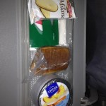 Breakfast on Alitalia: a warm chocolate croissant, yogurt, and Milanos (ironically enough since we were going to Rome!).