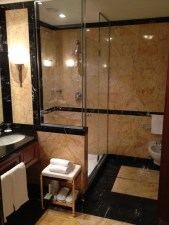 The all-marble master bath of our suite with walk-in Heavenly shower, separate bath, toilet and bidet and his-and-hers sinks.