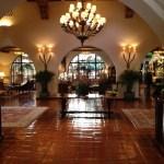 The Spanish colonial-style lobby at the Four Seasons Santa Barbara Biltmore.