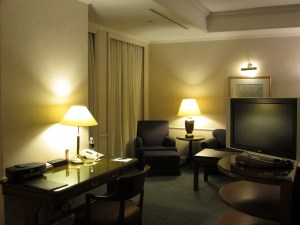 A view of the sitting area of my suite from the work desk.