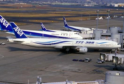 ANA planes at Haneda Airport.