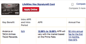 Lifemiles Visa Signature