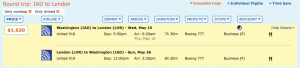 Dulles to London for $1,630 on United