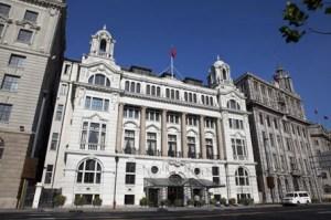 The Waldorf Astoria Shanghai's historic facad.