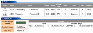 Air Canada Toronto-Vancouver Economy Award
