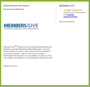 You can redeem credit card points like Amex Membership Rewards for charitable donations.