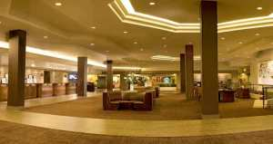 Lobby area at the Hilton Anaheim Hotel.
