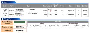 Singapore Airlines Los Angeles-Singapore Economy Award