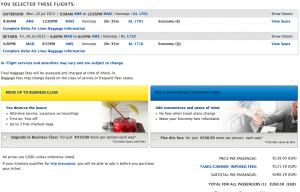 KLM Amsterdam-Madrid flight booking on delta.com