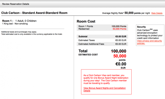 The Club Carlson cards offer free award nights that can mean huge discounts for cardholders.