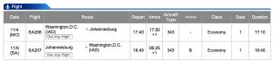 South African Airways IAD-JNB Economy Class Nov 4 - Nov 9