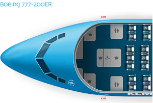 Seating in the Boeing 777-200 is in a 2-3-2 formation.