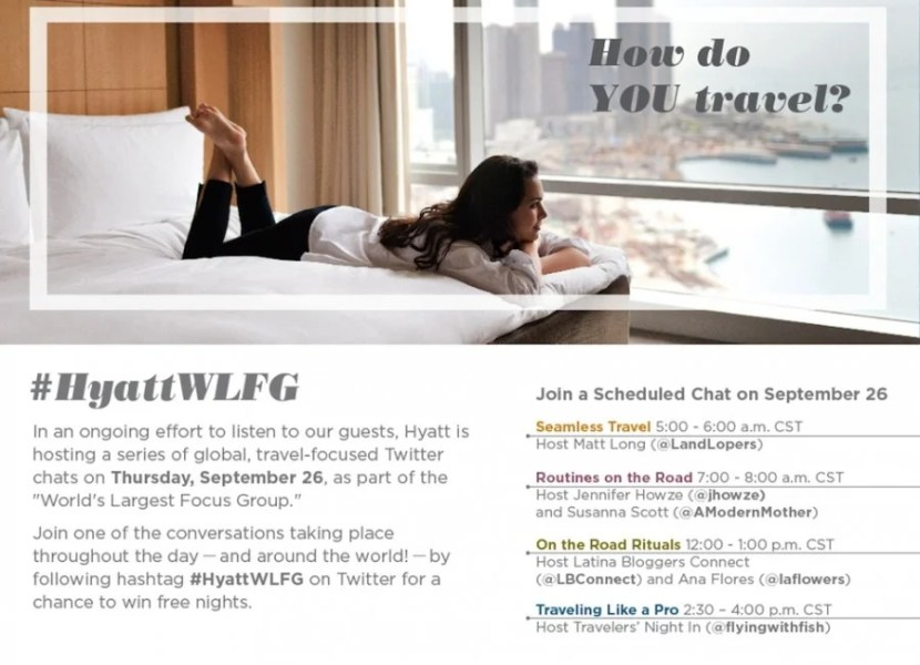 """Hyatt will be hosting Twitter chats throughout the day as part of the """"World's Largest Focus Group"""""""