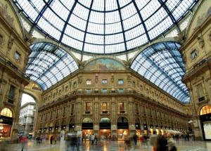 Shop at the famous glass roofed Galleria Vittorio Emanuele, which house the Prada Flagship store.