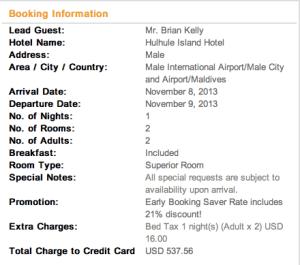 Hulhule Hotel receipt