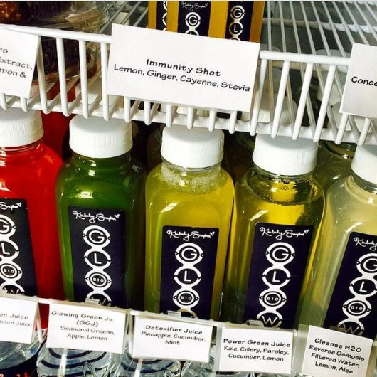 A few of the detoxifying juices from L.A.'s Glow Bio