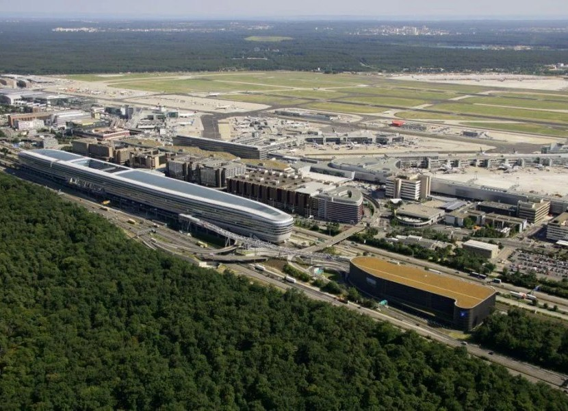Frankfurt's airport is a major transit hub.