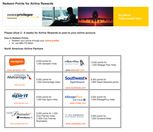 Choice Privileges allows you to transfer just 5,000 points into an airline account that you actually will use.