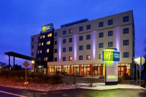 The exterior of the Holiday Inn Express Frankfurt.