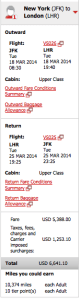 Taxes and carrier-imposed surcharges buying through Virgin would be over $1,200!