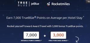 Get 3,000 bonus points on Jet Blue for Rocketmiles bookings.
